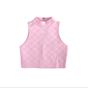 "Adidas ""Ravel"" Pink Quilted Mockneck Crop Top XS"